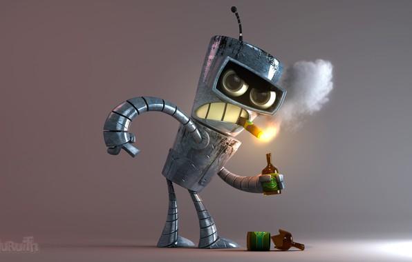 Picture monster, Futurama, booze, iron man, Bender, evil eye, Smoking a cigar