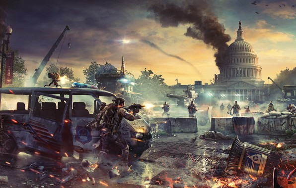 Picture war, soldiers, devastation, the bandits, Washington, the white house, turret, agents, Tom Clancy's The Division …