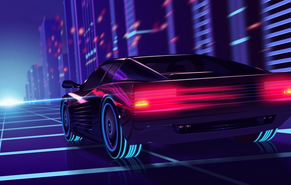 Picture road, the city, lights, lights, speed, wheel, car, retro, racing, retro wave