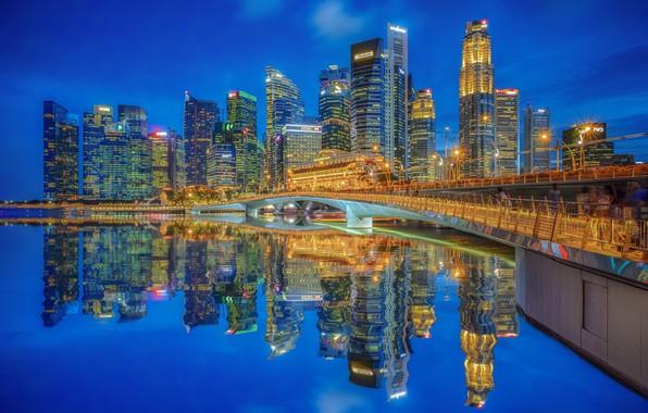 Picture bridge, reflection, building, home, Bay, Singapore, night city, skyscrapers, Singapore, Marina Bay, Marina Bay, Jubilee …