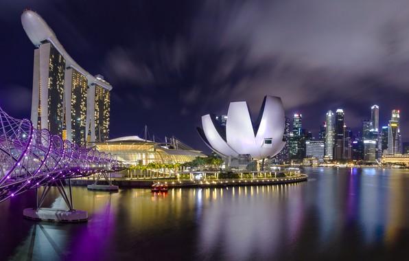 Picture night, river, photo, Singapore