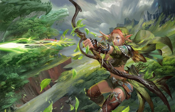 Picture bow, Archer, fantasy, art, elf, shooter, april dede