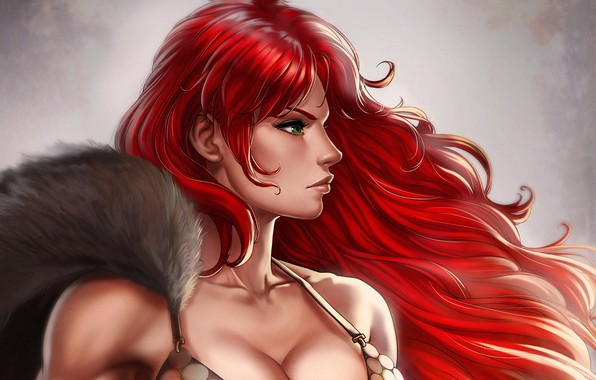Picture girl, warrior, Red Sonja, Red Sonja, by Dandonfuga