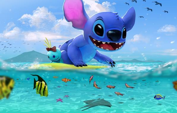 Picture sea, art, Stitch, children's. summer, Stitch's day at the Beach, George Hernandez