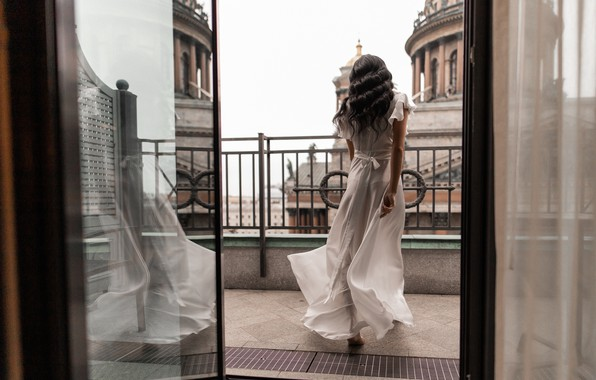 Picture girl, dress, brunette, balcony, curls, Юлия Семёнова