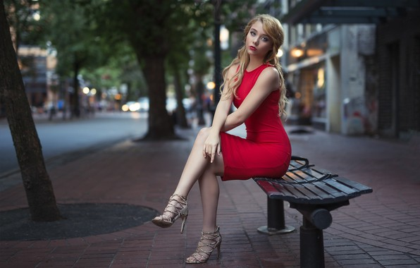Picture city, girl, long hair, dress, legs, trees, photo, photographer, blue eyes, model, lips, face, bench, …