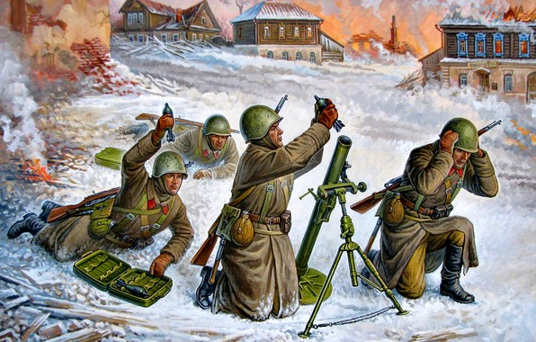 Picture Winter, Snow, mines, The great Patriotic war, The second World war, The Red Army, Calculation, ...