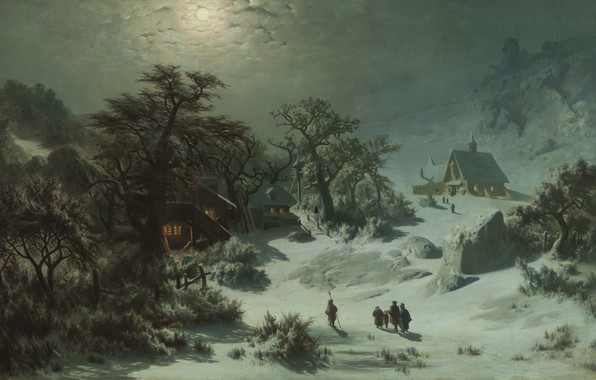 Picture 1857, oil on canvas, Czech painter, National Gallery in Prague, National gallery in Prague, Winter …