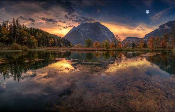 Picture autumn, forest, the sky, sunset, mountains, lake, reflection, the moon, Friedrich Beren