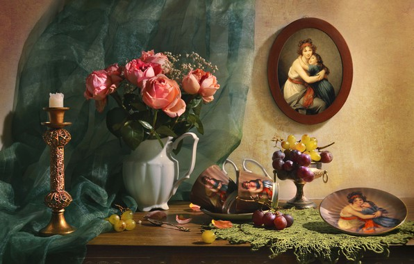 Picture flowers, portrait, roses, candle, plate, grapes, Cup, fabric, pitcher, fruit, still life, napkin, vase, Valentina …