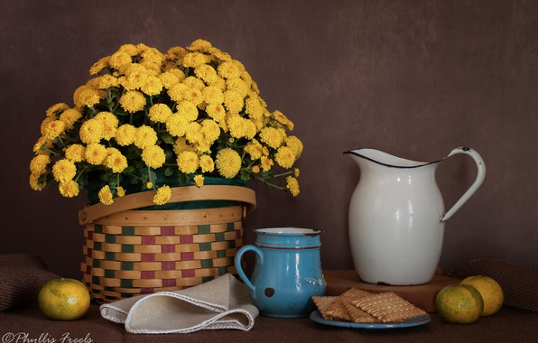 Picture flowers, style, background, basket, cookies, mug, pitcher, still life, chrysanthemum, yellow, napkin, tangerines