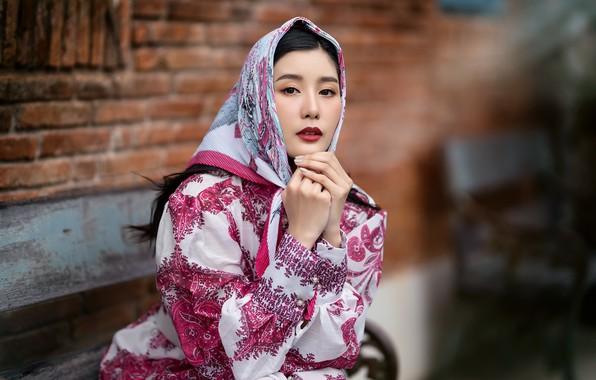 Picture girl, portrait, shawl