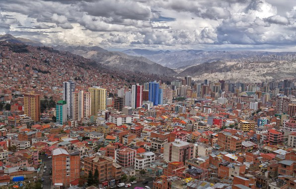 Picture mountains, houses, Bolivia, La Paz, dense area, High density area, high altitude