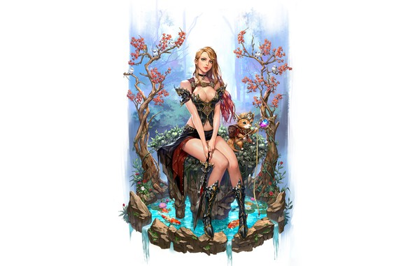 Picture Girl, Fantasy, Art, Style, Cat, Illustration, Forest, Stone, Figure, Character, Dagger, jungmin jin, dospi