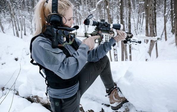 "Picture Girl, Blonde, Rifle, Winter Forest, Sniper rifle Lobaeva, DVL-10 ""Urbana"", Lobaev Arms"
