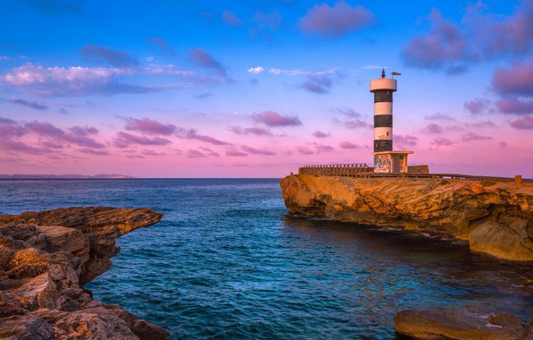 Picture sky, sea, landscape, nature, sunset, rocks, bay, Lighthouse, cliff