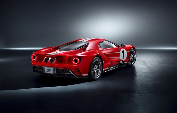 Picture Ford, supercar, Ford GT, rear view, 2018, 67 Heritage Edition
