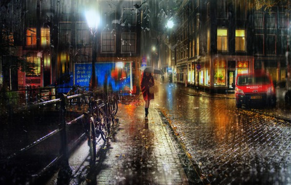 Picture machine, the city, rain, woman, building, home, lighting, Amsterdam, bikes, Ed Gordeev, Gordeev Edward, Eduard …