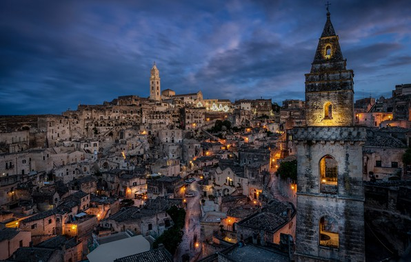 Picture building, tower, home, Italy, night city, Italy, Matera, Basilicata, Mater, Basilicata