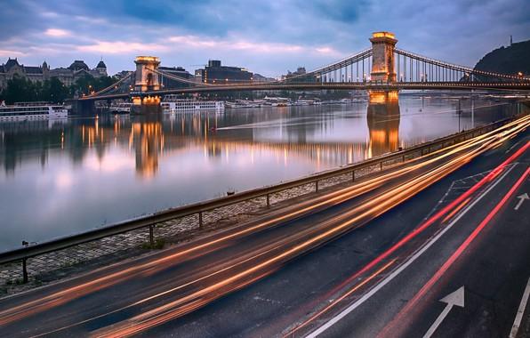 Picture Hungary, Budapest, light trails, Danube River, Chain Bridge