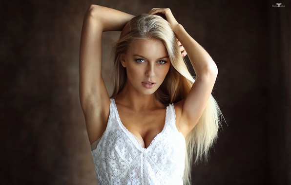 Picture girl, cleavage, long hair, dress, breast, photo, photographer, blue eyes, model, beauty, lips, face, sensual, ...