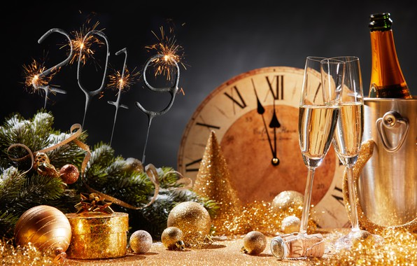 Picture background, holiday, gift, toys, glasses, New year, tinsel, champagne, decor