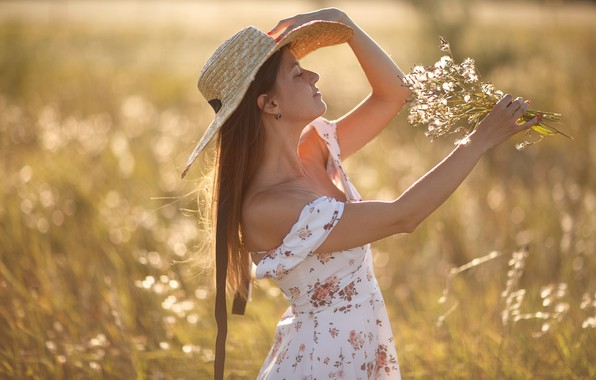 Picture summer, girl, flowers, pose, mood, hat, hands, dress, long hair, a bunch, closed eyes, Sergey …