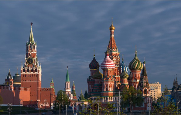 Picture Moscow, The Kremlin, St. Basil's Cathedral, Russia, Red square, Spasskaya tower