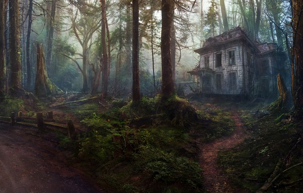 Picture Trees, Forest, House, Art, Abandoned house, Concept Art, by Oleg Yolchiev, Forest house, Oleg Yolchiev