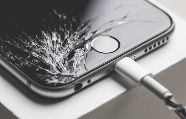 Picture iphone, charging, screen, broke