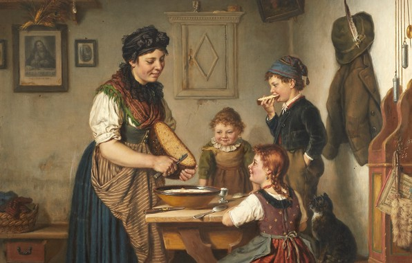 Picture 1883, German painter, German painter, oil on canvas, Karl Arrow, At the kitchen table, At …