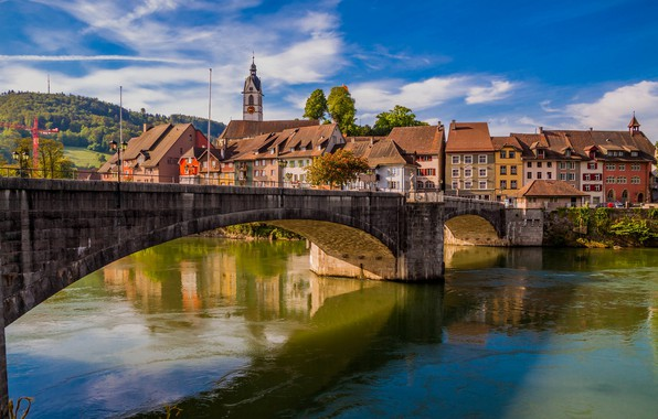 Picture bridge, river, building, home, Germany, Germany, Baden-Württemberg, Baden-Württemberg, Rhine River, The Rhine River, Laufenburg, Laufenburg