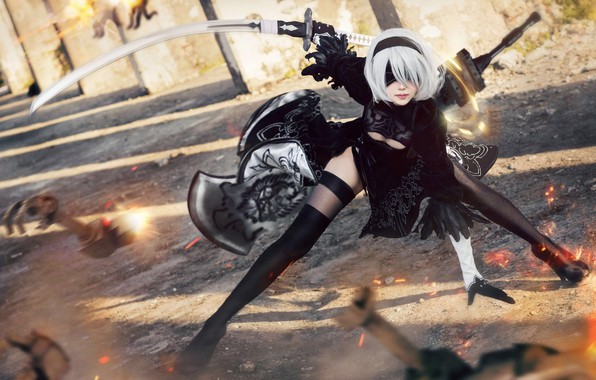 Picture battle, sparks, cosplay, Nier Automata, No. 2 Yorha