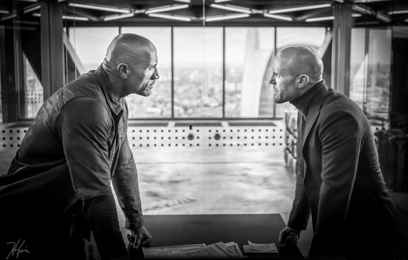 Picture still from the film, Show, black and white photo, Hobbs, Fast & Furious Presents: Hobbs …