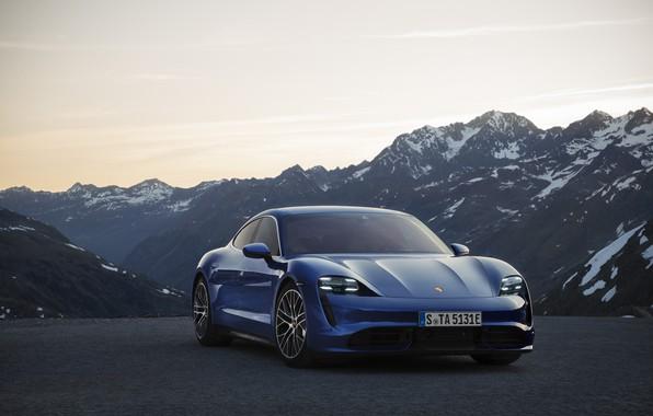 Picture machine, mountains, Porsche, turbo, Taycan