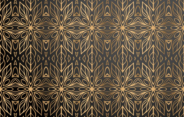 Picture flowers, background, gold, pattern, black, gold, ornament, background, color