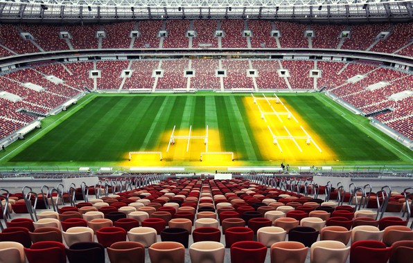 Photo wallpaper Sport, Football, Russia, Stadium, Luzhniki, Stadium, Lawn, Tribune, Luzhniki, Luzhniki Stadium, The Main Stadium, Stadium ...