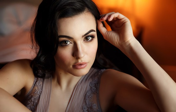Picture look, pose, model, portrait, makeup, brunette, hairstyle, beauty, bokeh, Galina Isaeva