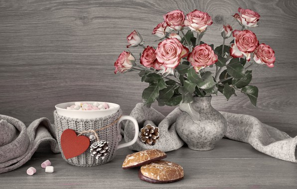 Picture flowers, hot, chocolate, cookies, Cup, vase