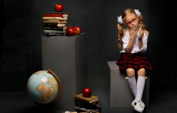 Picture apples, books, sneakers, skirt, glasses, girl, blouse, schoolgirl, knee, bows, globe, child, textbooks, tails, student, …