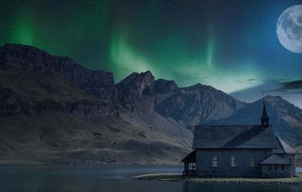 Picture the sky, stars, landscape, mountains, night, nature, house, darkness, river, rendering, people, rocks, the moon, …