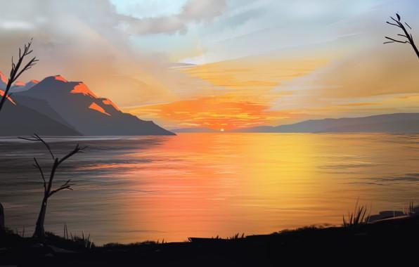 Picture sky, landscape, nature, Sunset, art, mountains, clouds, lake, sun, digital art, artwork, illustration