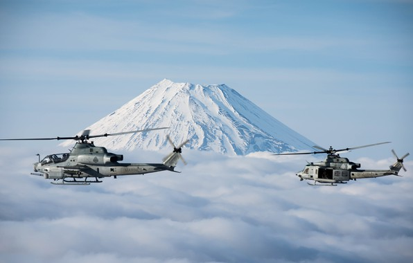 Picture Helicopter, Fuji, UH-1Y Venom, US Marine Corps, AH-1Z Viper