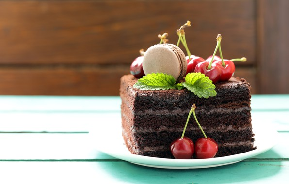 Picture cake, cream, dessert, cherry, chocolate, macaron