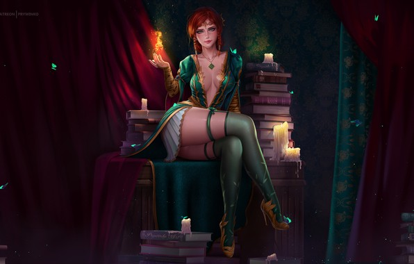 Picture fire, girl, fantasy, game, cleavage, The Witcher, dress, blush, stockings, redhead, artist, digital art, artwork, …