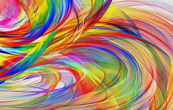 Picture line, abstraction, figure, curves, picture, canvas, acrylic paint, screensaver for your desktop, rainbow waves, colorful …