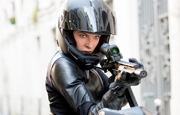 Picture pose, weapons, bike, motorcycle helmet, Rebecca Ferguson, Rebecca Ferguson, Mission: impossible-the Consequences, Mission: Impossible – …