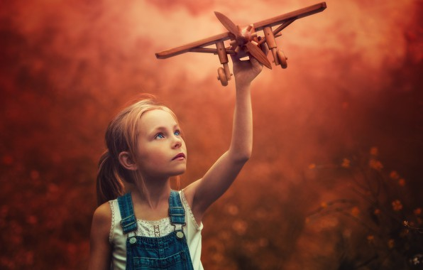 Picture background, girl, the plane