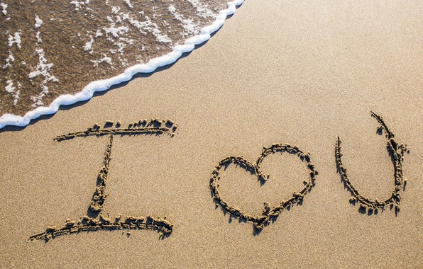Picture sand, sea, beach, love, beach, sea, romantic, sand, I love You