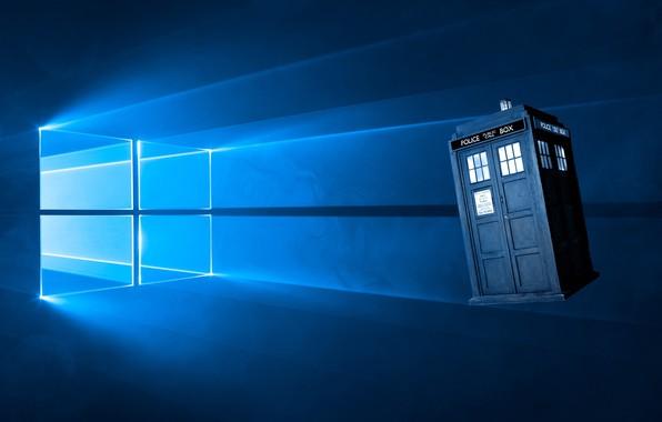 Picture windows, blue background, Windows 10